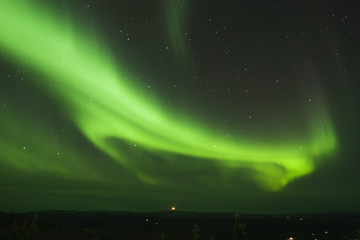 loop of northern lights in the night sky