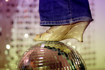glitterball and shoe