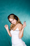 young girl with mp3 poster