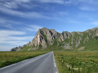 scenic road and mountains in norway