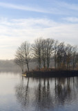 winter autumn november landscape lake water poster