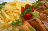 club sandwich with french fries poster