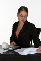 young business woman with calculator