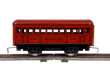 red toy train passenger car