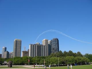 jetstream over skyscrapers