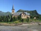 church in norwegian mountains poster