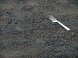 plastic fork on ground poster