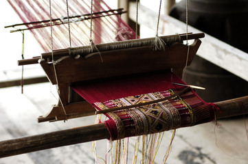 thailand, chiang mai: karen tribe, loom