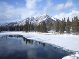 winter on bow river, banff