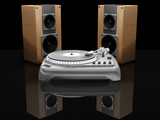 turntable and speakers poster