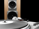 turntable and speaker poster