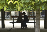 lovers silhouette, paris poster