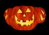 glowing pumpkins trio poster
