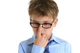 child pushing glasses up onto nose poster