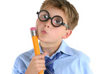 comical boy holding a pencil and thinking poster