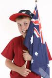 true blue - patriotic boy holding australian flag poster