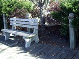 weathered park bench poster