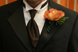 wedding groom boutinerre orange flower rose poster