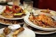 Leinwanddruck Bild - left dishes in restaurant