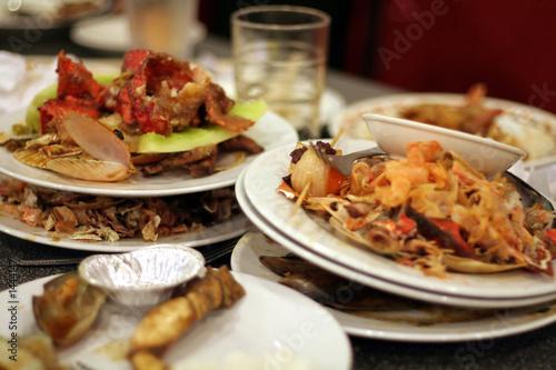 Leinwanddruck Bild left dishes in restaurant