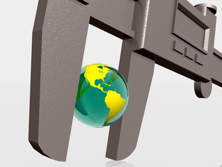 earth being squeezed with caliper.