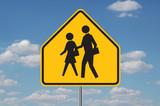 school warning sign with clouds poster