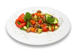 mixed vegetable/mushroom salad. isolated. poster