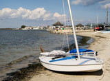 sailboat on shore poster