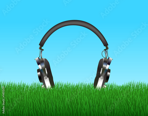 head phones in grass