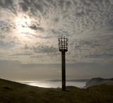 beacon, cliff, sea, sky, cloud, clouds, water, sun poster