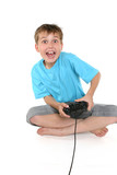 excited boy playing a computer game poster