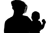 silhouette with clipping path of mom and baby poster