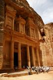 tourists near treasury, petra, jordan poster