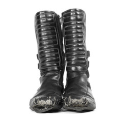 old, worn out black leather boots