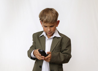 Boy portrait with phone