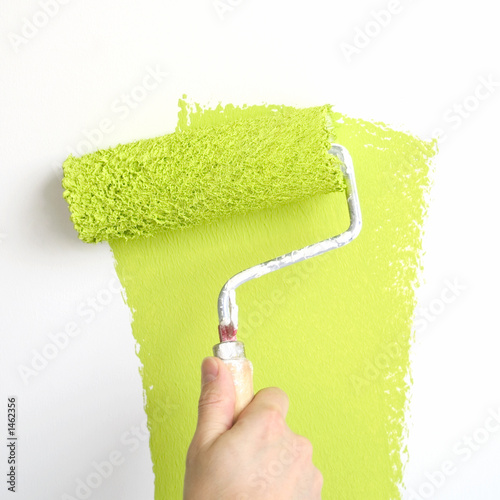 painting a wall in lime green