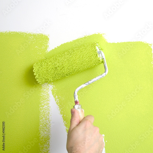 painting a wall with 'lime green ' paint