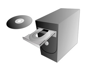 computer with open cd  rom drive