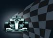 formula 1 car and flag