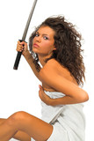 woman holding traditional japanese sword poster