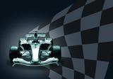 formula 1 car and flag poster