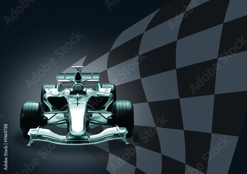 formula 1 car and flag
