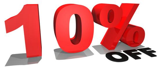 10% off 3d text