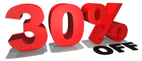 30% off 3d text