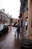 lovers walking down rainy street poster