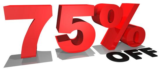 75% off 3d text