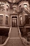 sepia toned entry to old brownstone boston poster