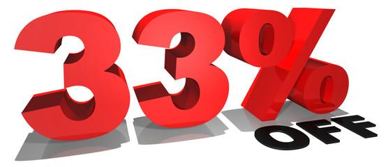 33% off 3d text
