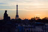 sunset on the eiffel tower poster