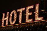 bright hotel neon lights poster